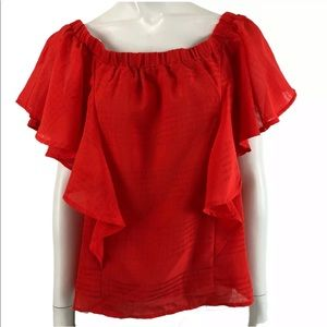 J By J.O.A Womens Off The Shoulder Ruffle Top